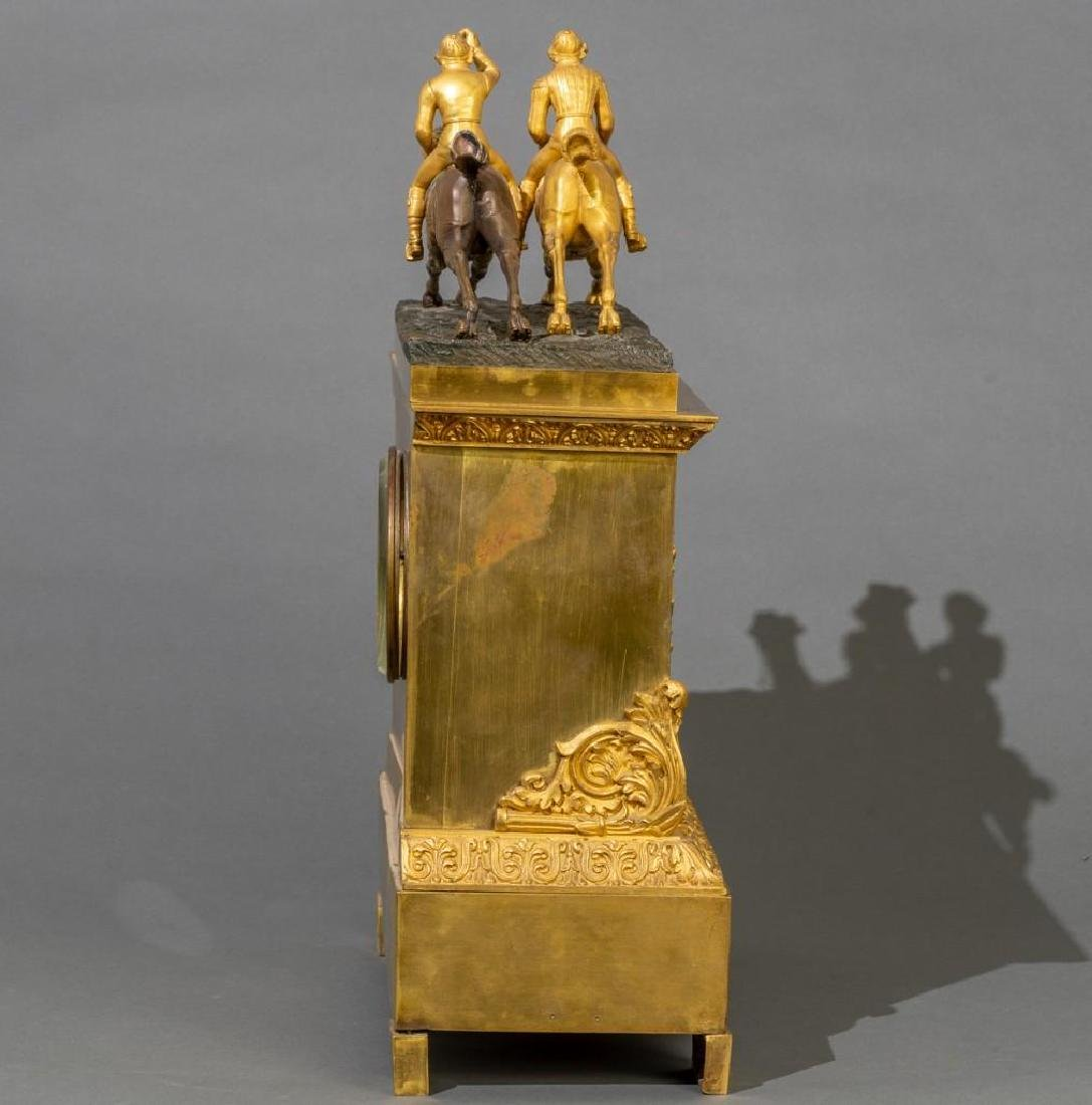 French Bronze Mantle Clock Race Horses - 4