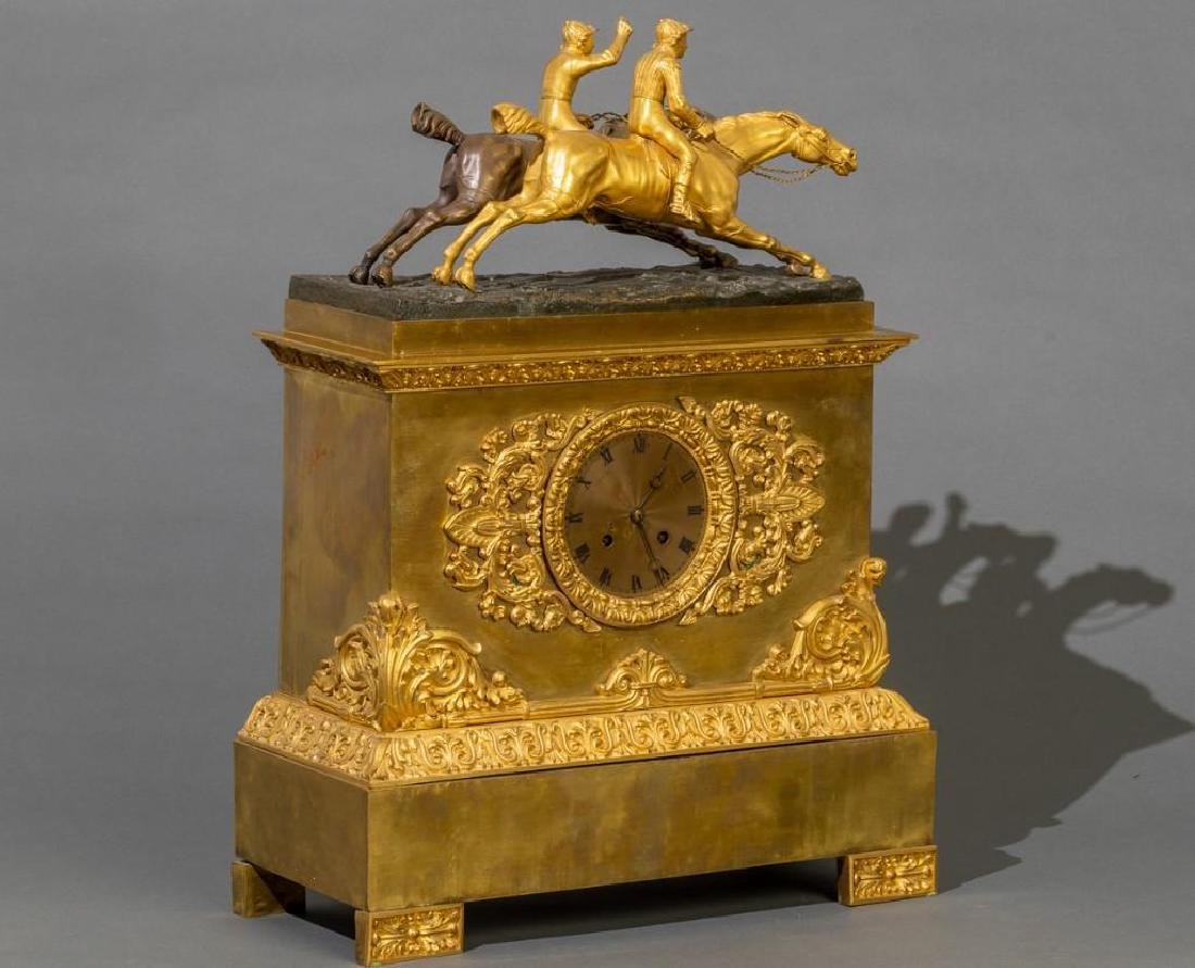 French Bronze Mantle Clock Race Horses - 5