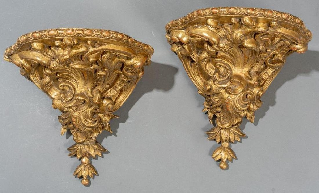 Pair of Rococo Gilt Wood Carved Shelf Brackets