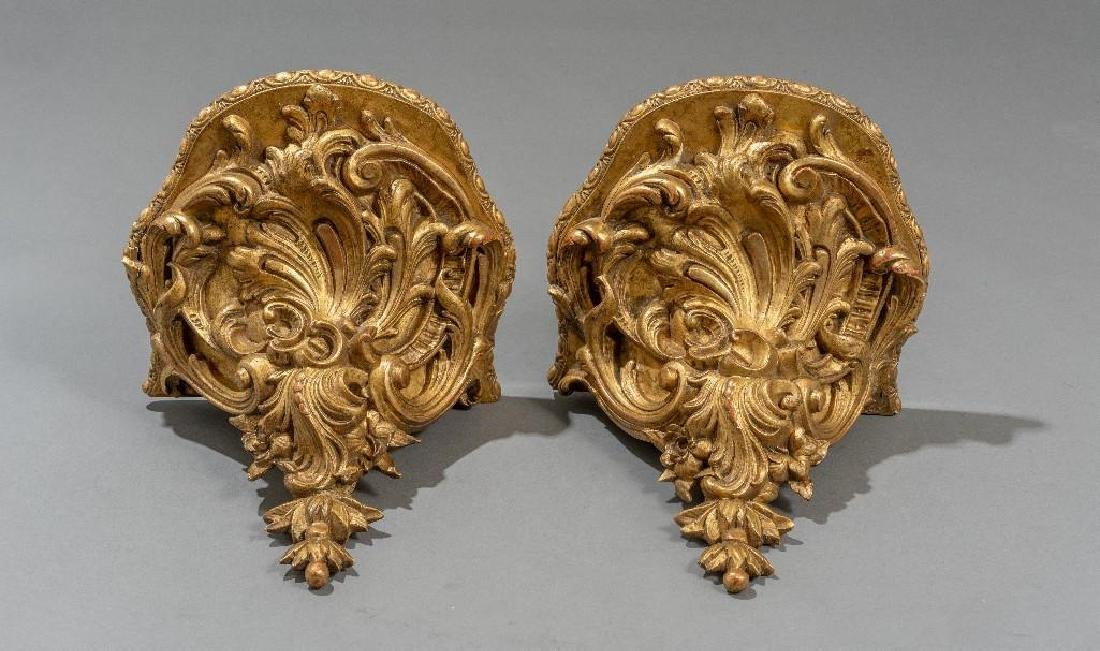 Pair of Rococo Gilt Wood Carved Shelf Brackets - 2