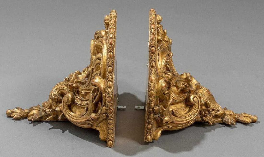 Pair of Rococo Gilt Wood Carved Shelf Brackets - 3
