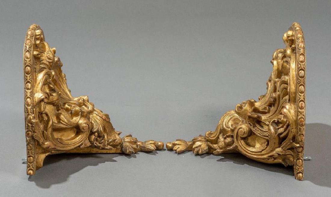 Pair of Rococo Gilt Wood Carved Shelf Brackets - 5