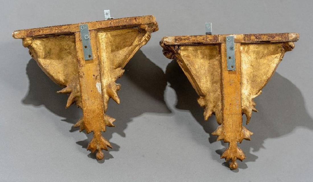 Pair of Rococo Gilt Wood Carved Shelf Brackets - 6