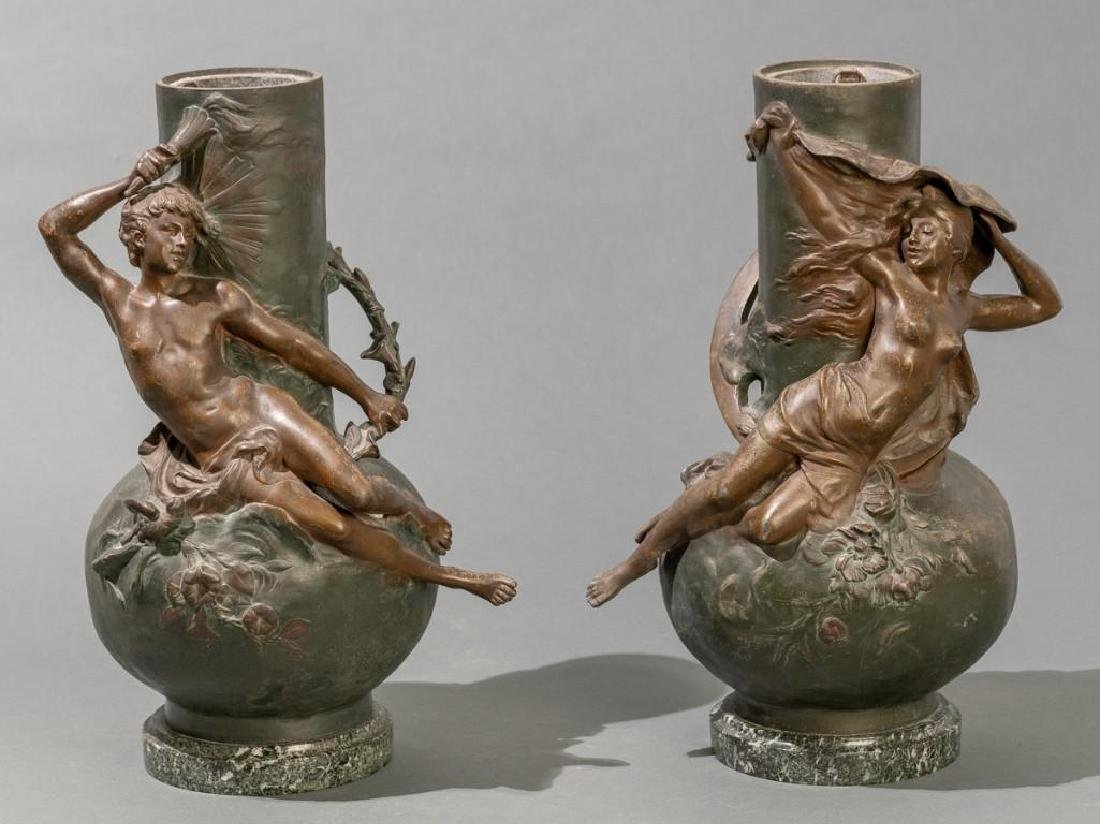 Signed Pair of Late 19th c. Large Spelter Vases