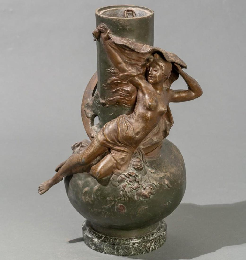 Signed Pair of Late 19th c. Large Spelter Vases - 5