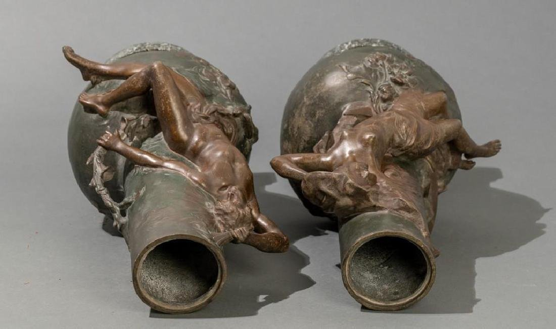 Signed Pair of Late 19th c. Large Spelter Vases - 9