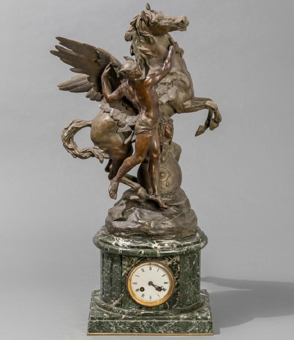 Persee domptant Pegase Patinated Bronze on Marble Clock