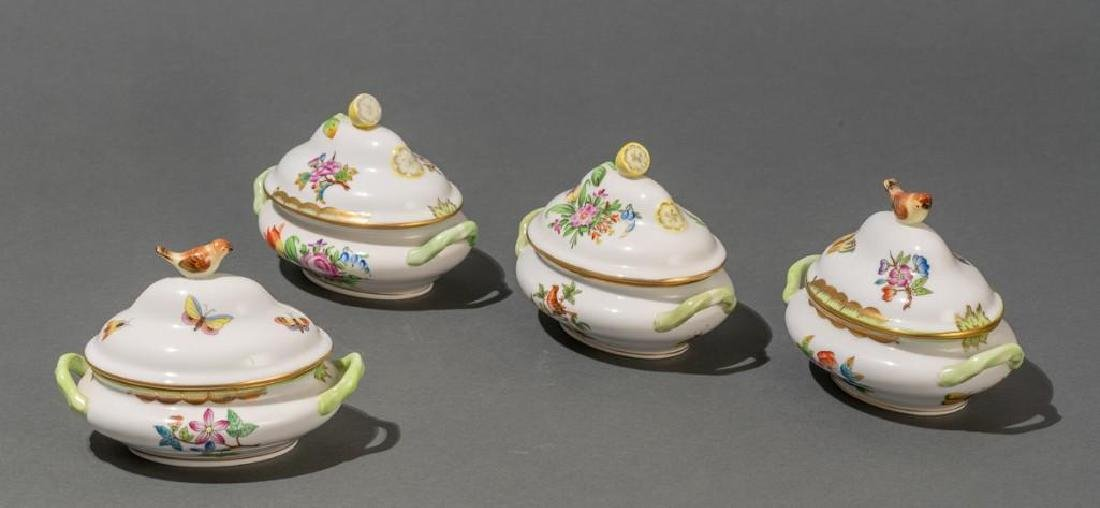 "Herend, ""Queen Victoria"", 4 Miniature Covered Tureens"