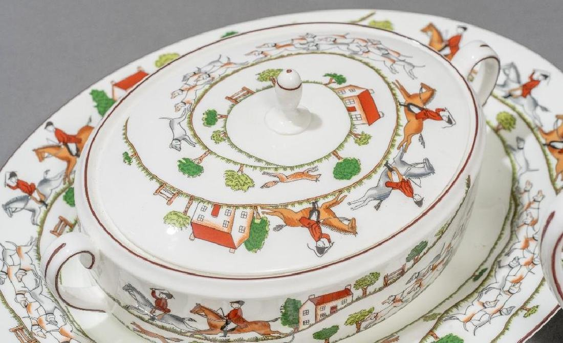 "Crown Staffordshire, ""Hunting Scene"" Porcelain - 2"