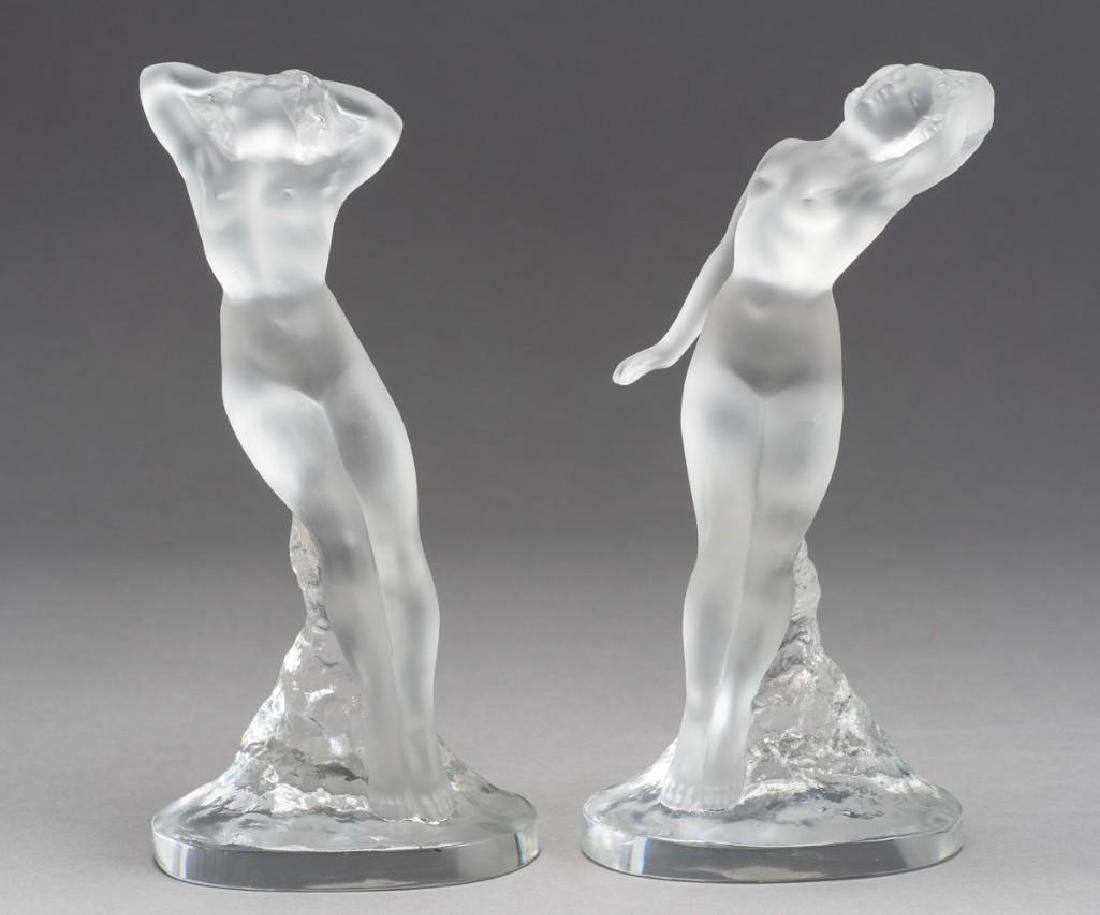 Lalique, France Nude Female, Signed Crystal Sculptures