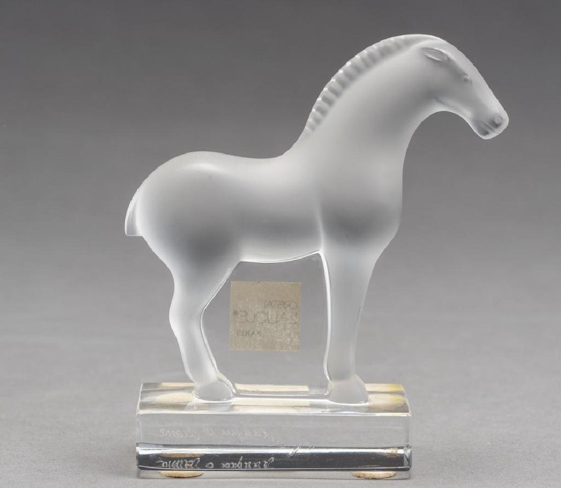 "Lalique French ""Tang"", Crystal Horse Sculpture - 4"