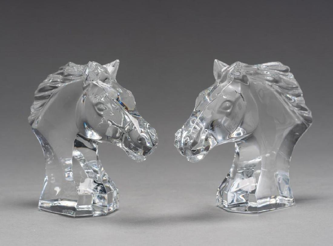 Baccarat French Art Glass Pair Cheval Horses