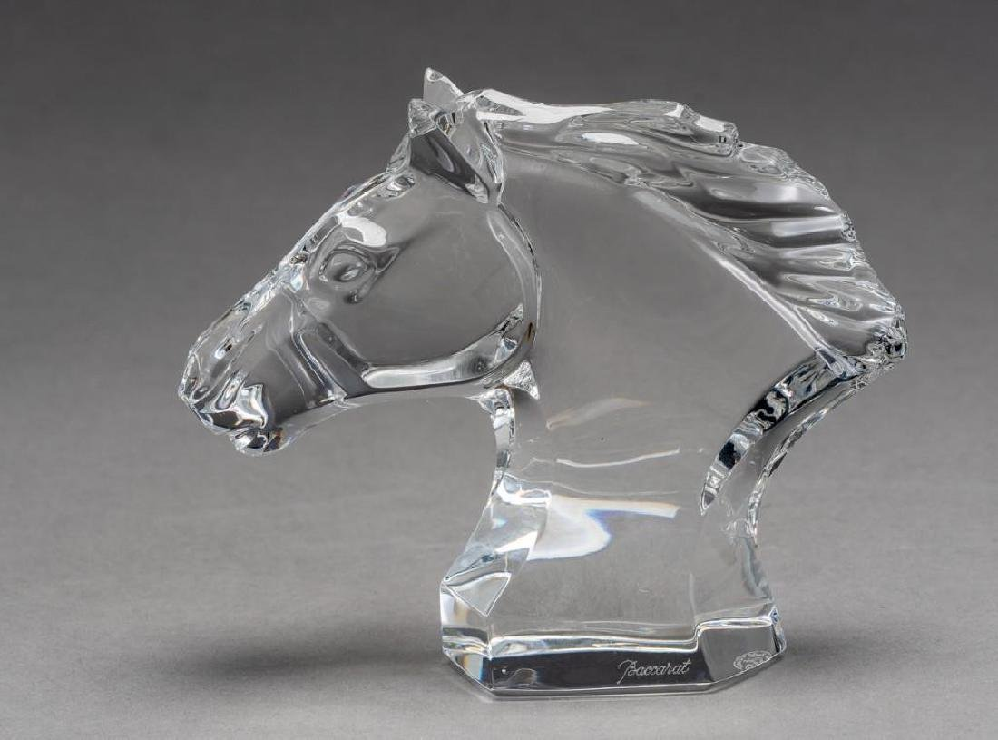 Baccarat French Art Glass Pair Cheval Horses - 3