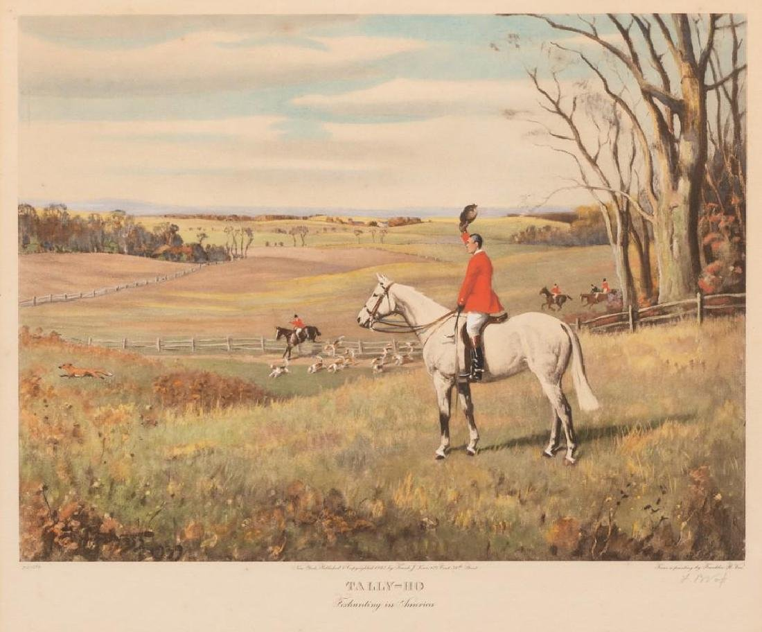 """Frank Brooke Voss, """"Tally-Ho"""" Lithograph"""