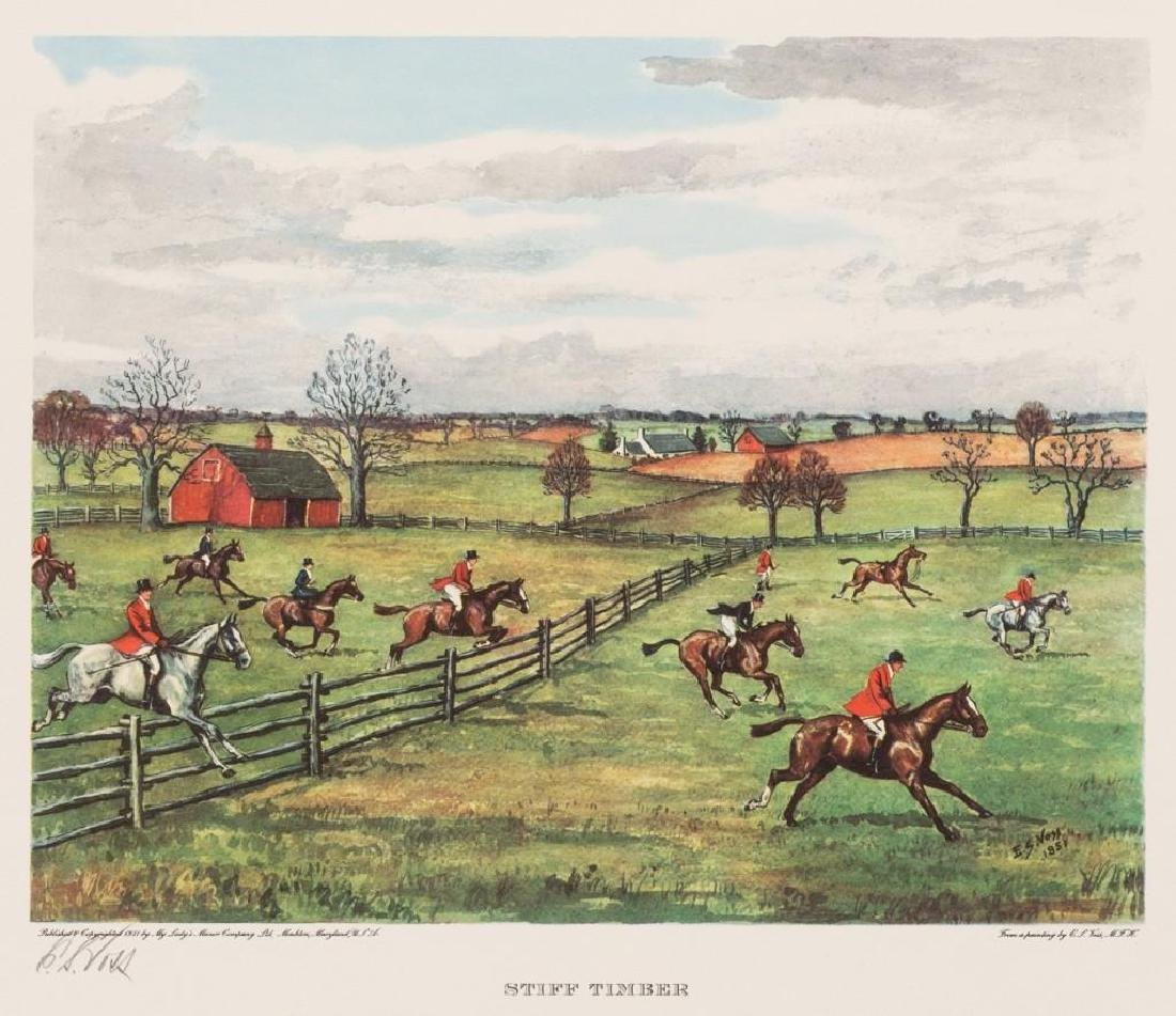 Set of 4 Voss Signed Fox Hunting Equestrian Prints