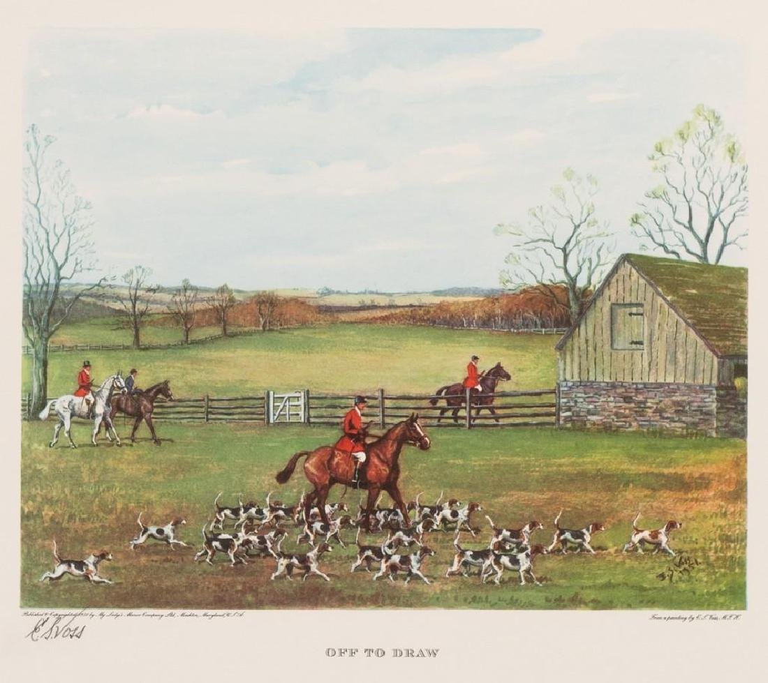 Set of 4 Voss Signed Fox Hunting Equestrian Prints - 2