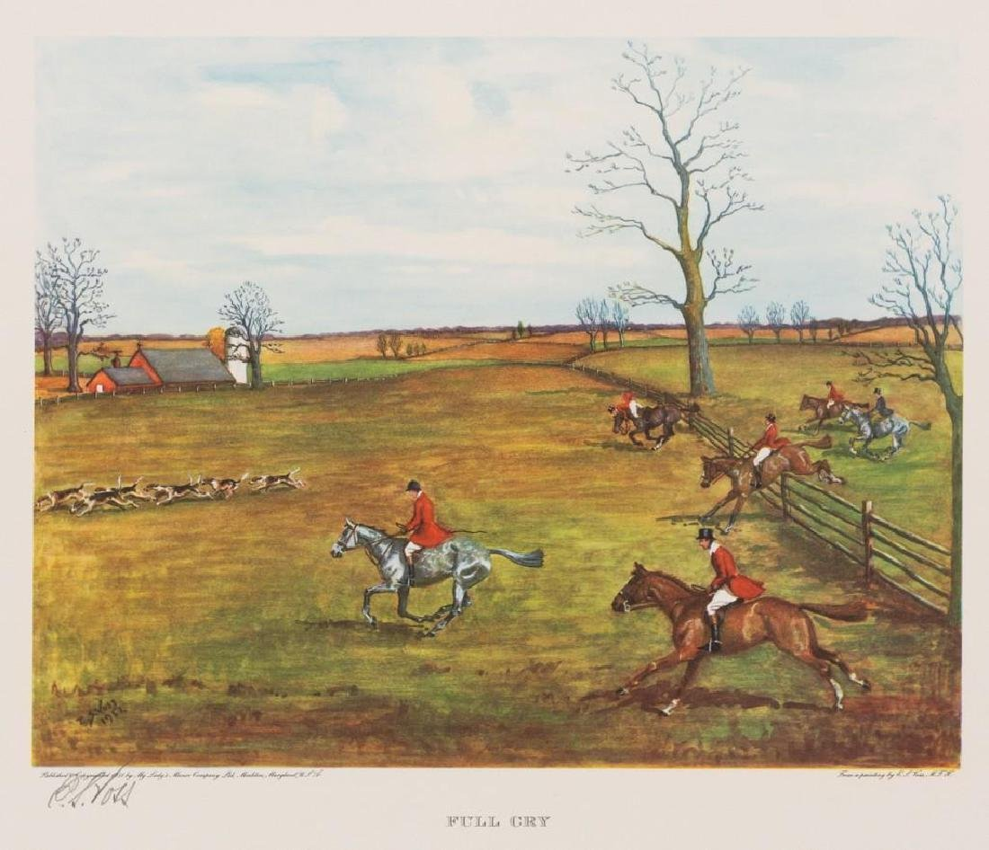 Set of 4 Voss Signed Fox Hunting Equestrian Prints - 3