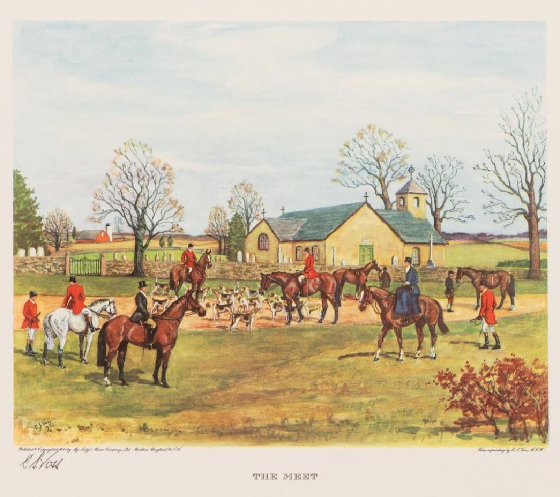 Set of 4 Voss Signed Fox Hunting Equestrian Prints - 4