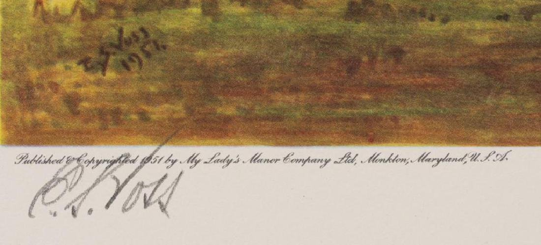 Set of 4 Voss Signed Fox Hunting Equestrian Prints - 8