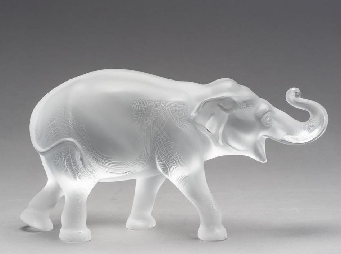"""Lalique, France """"Sumatra"""" Elephant, Signed Crystal"""