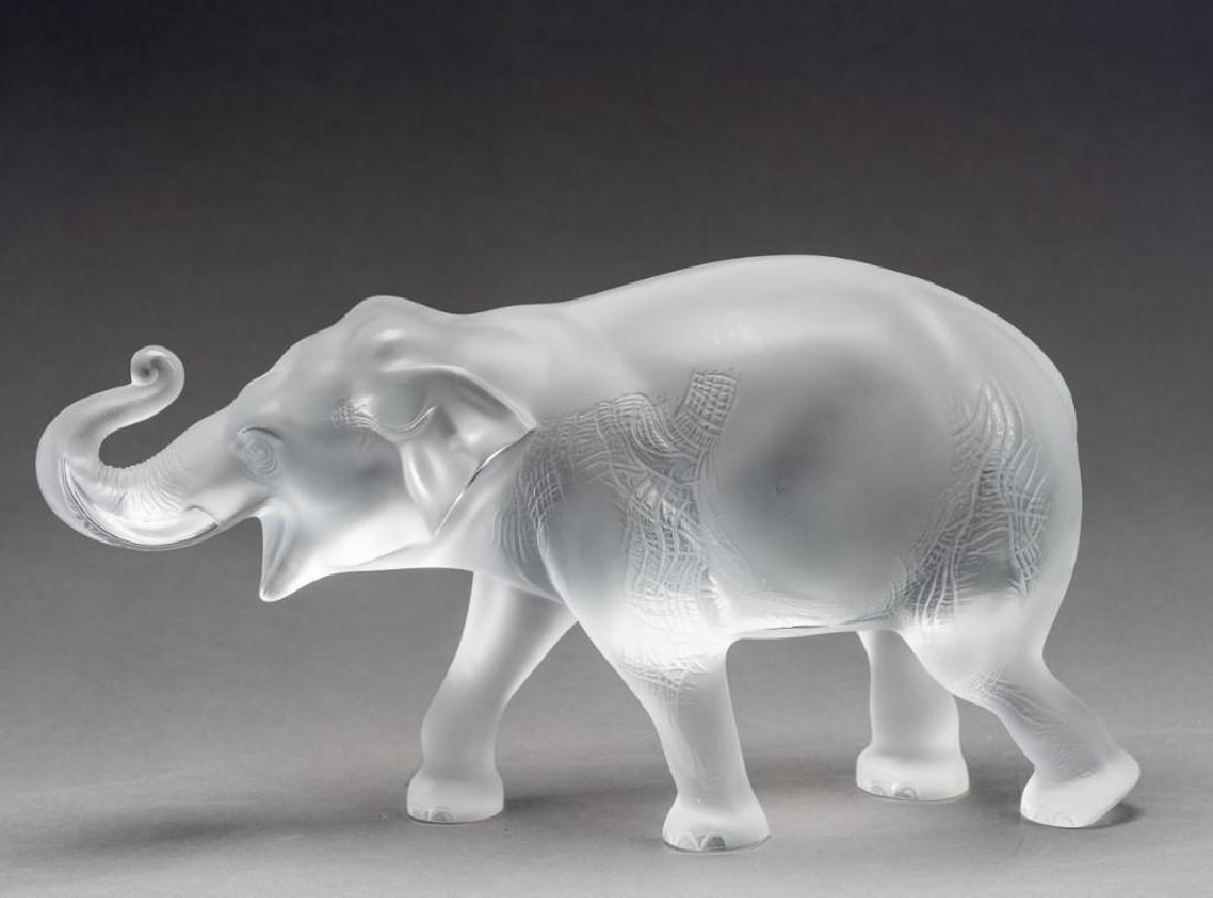 """Lalique, France """"Sumatra"""" Elephant, Signed Crystal - 5"""
