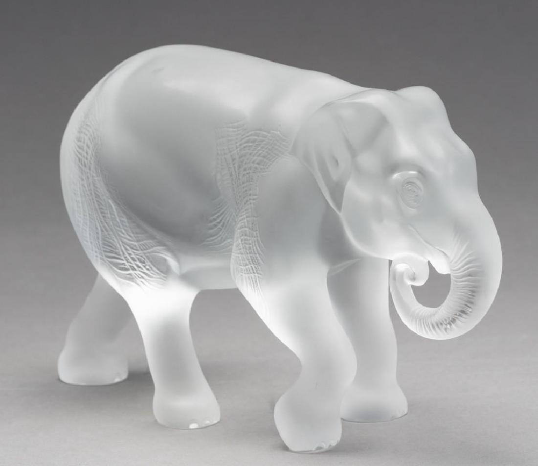"Lalique, France ""Java"" Elephant, Signed Crystal"