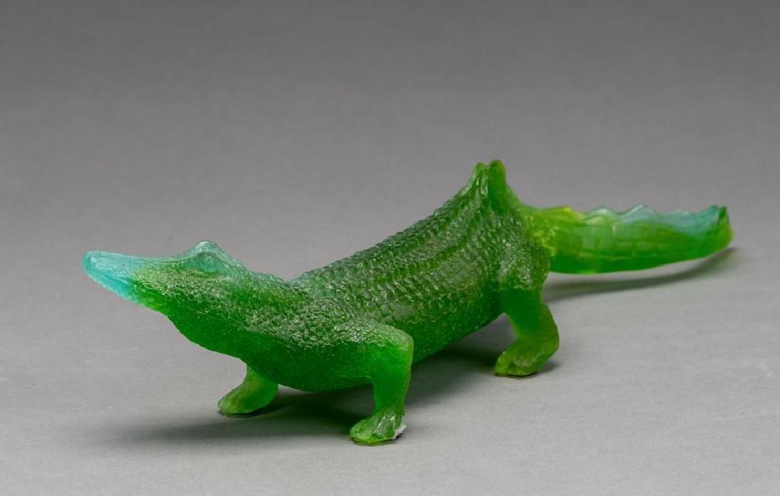 Daum French Art Glass Pate de Verre Crocodile - 5