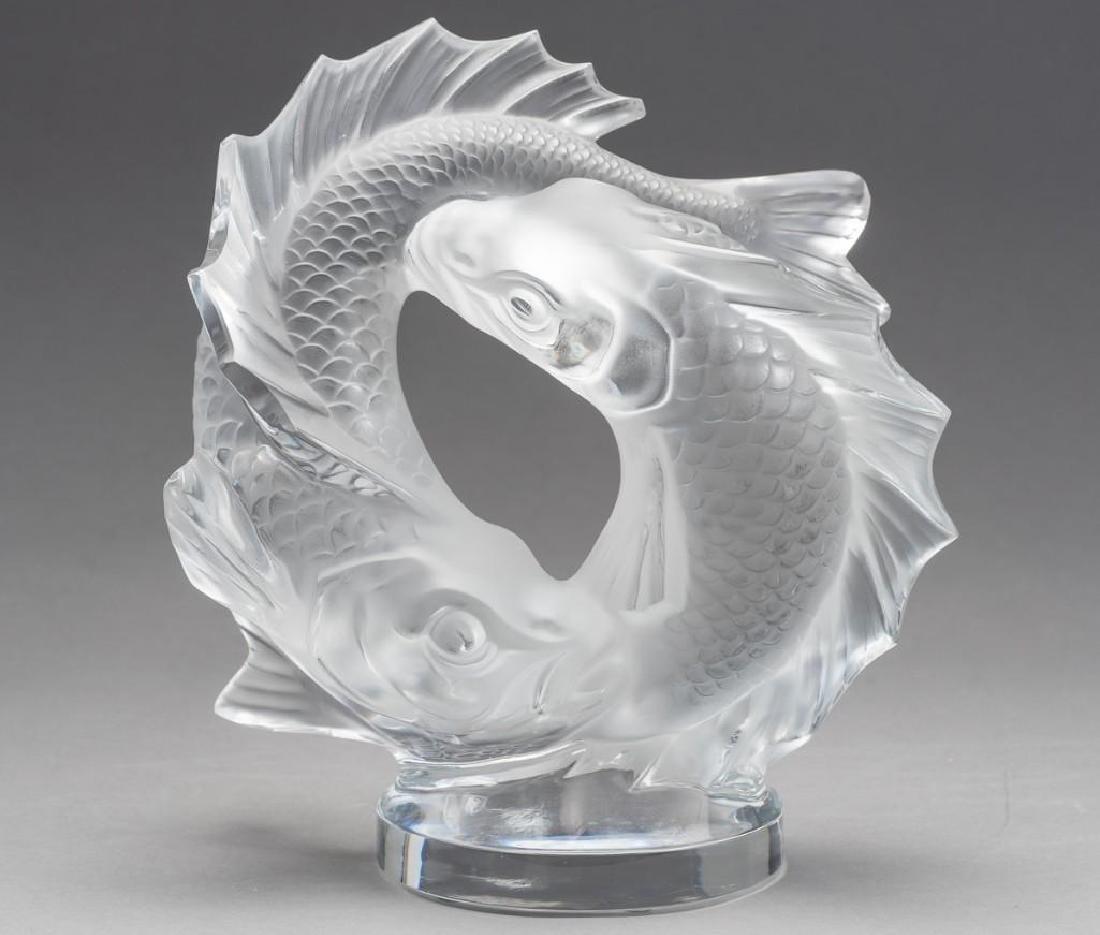 "Lalique, France ""Deux Poissons"" Pisces, Signed Crystal"