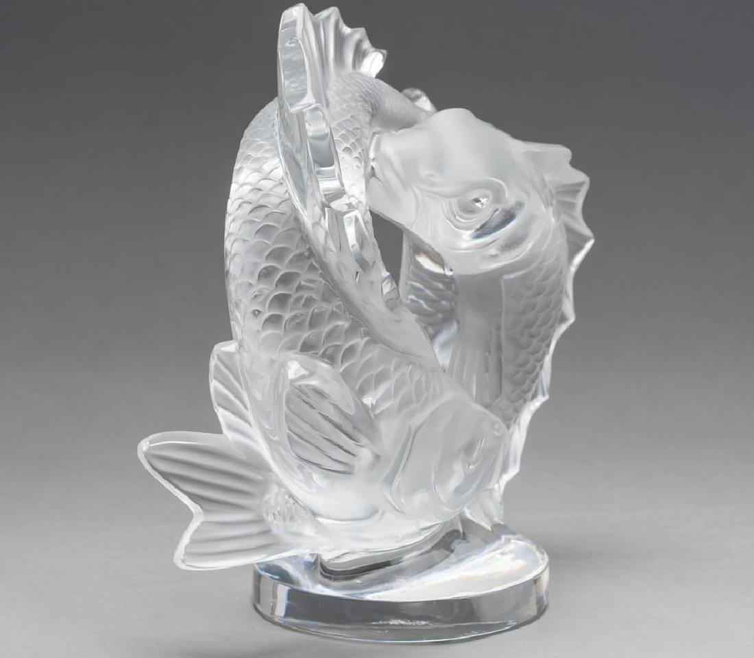 "Lalique, France ""Deux Poissons"" Pisces, Signed Crystal - 3"