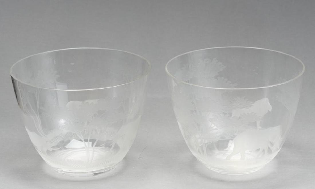"Rowland Ward Ltd, ""Big Game"" Pair of Crystal Bowls"