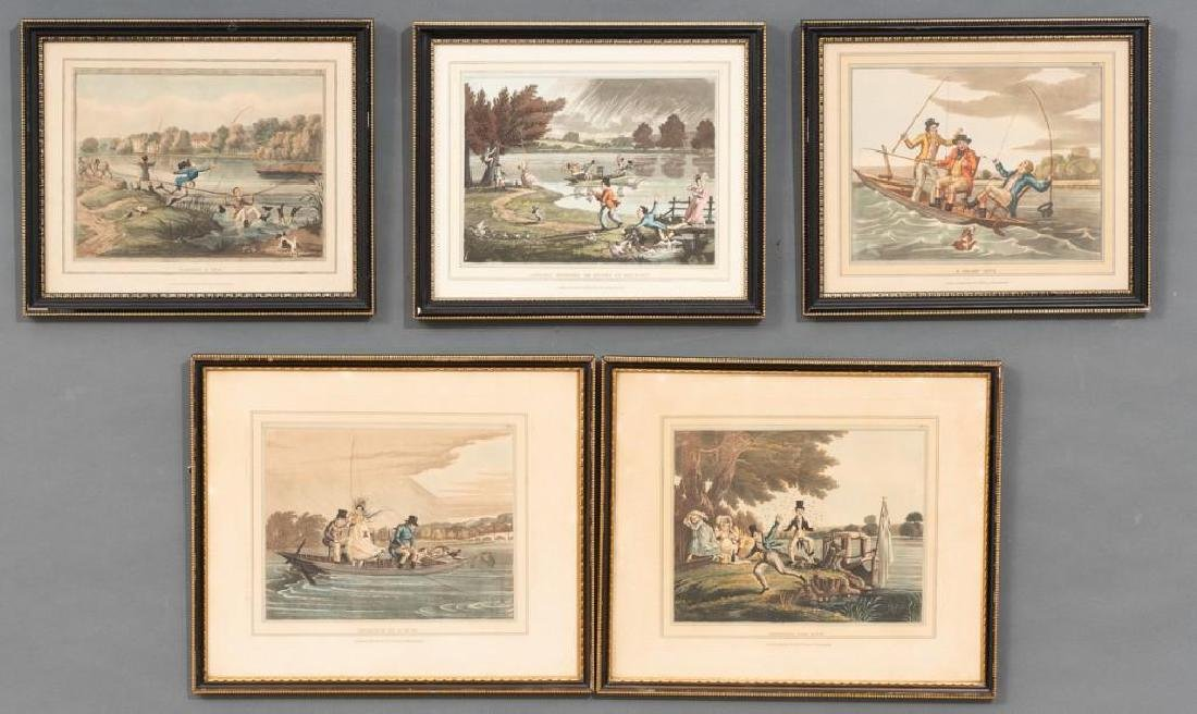 Set of 5 Hand-Colored Engravings
