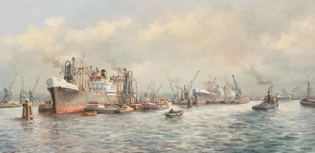 """Pieter van Schaik Jr. (1910-1991),""""Rotterdam Harbor"""","""