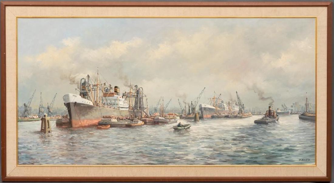 """Pieter van Schaik Jr. (1910-1991),""""Rotterdam Harbor"""", - 2"""