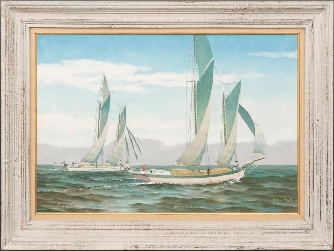 John Moll (1910-1991) Pair of Sail Boat Paintings - 9