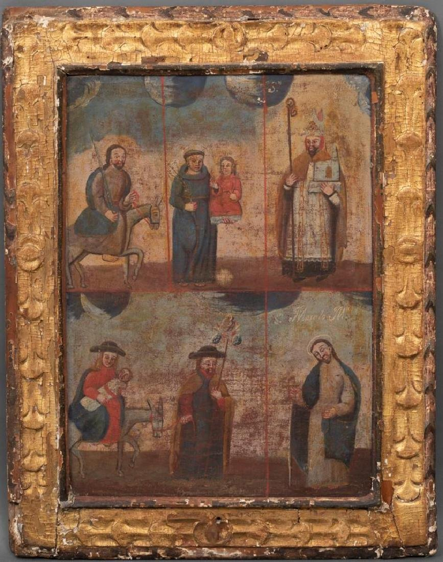 Antique Spanish Colonial Religious Painting, oil on