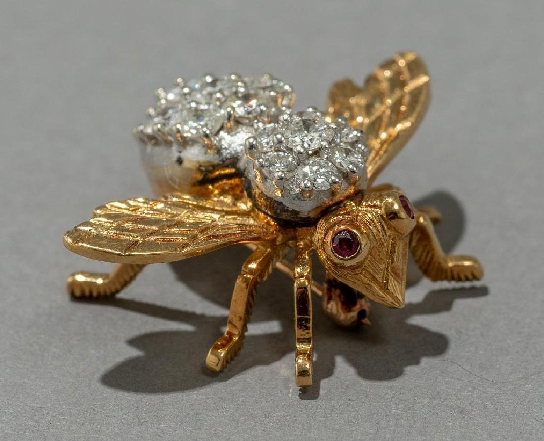 Rosenthal Gold, Diamond, and Ruby Bee Pin