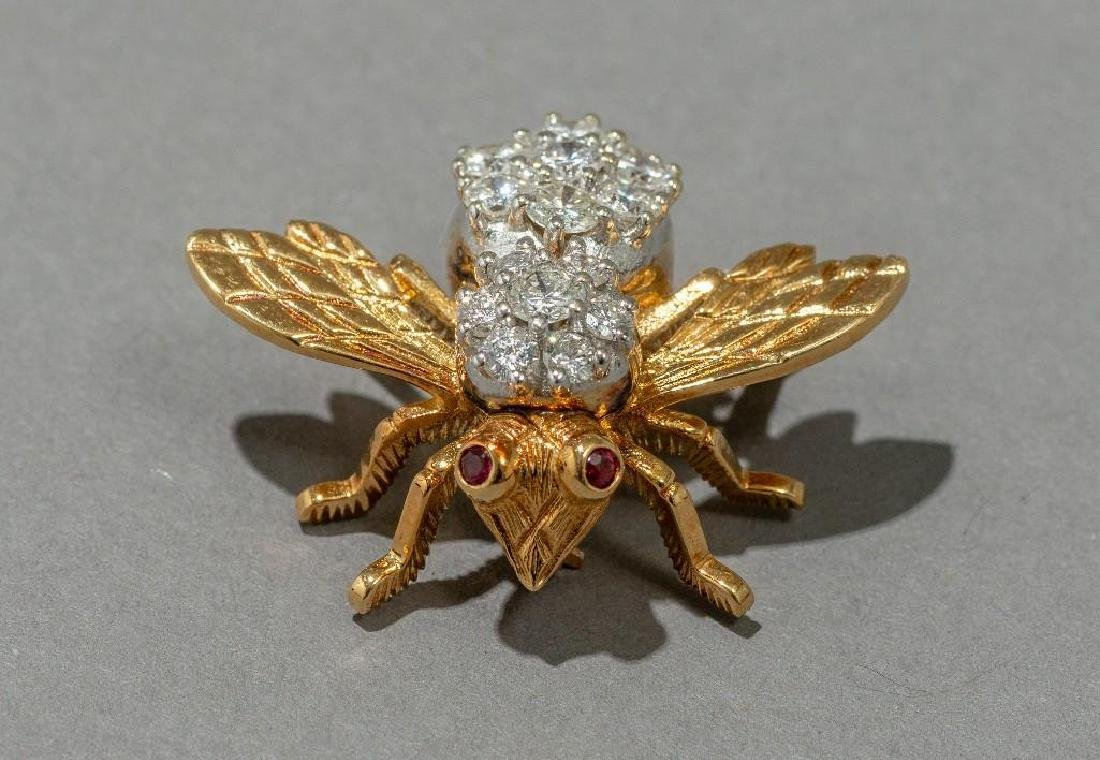 Rosenthal Gold, Diamond, and Ruby Bee Pin - 2