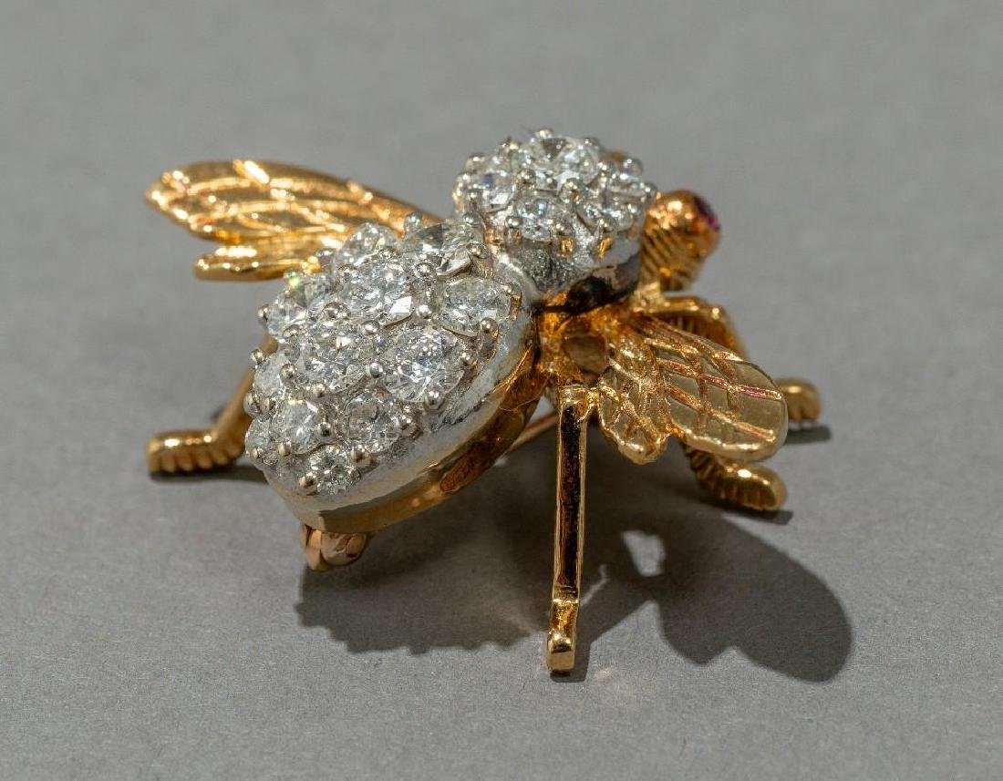 Rosenthal Gold, Diamond, and Ruby Bee Pin - 3