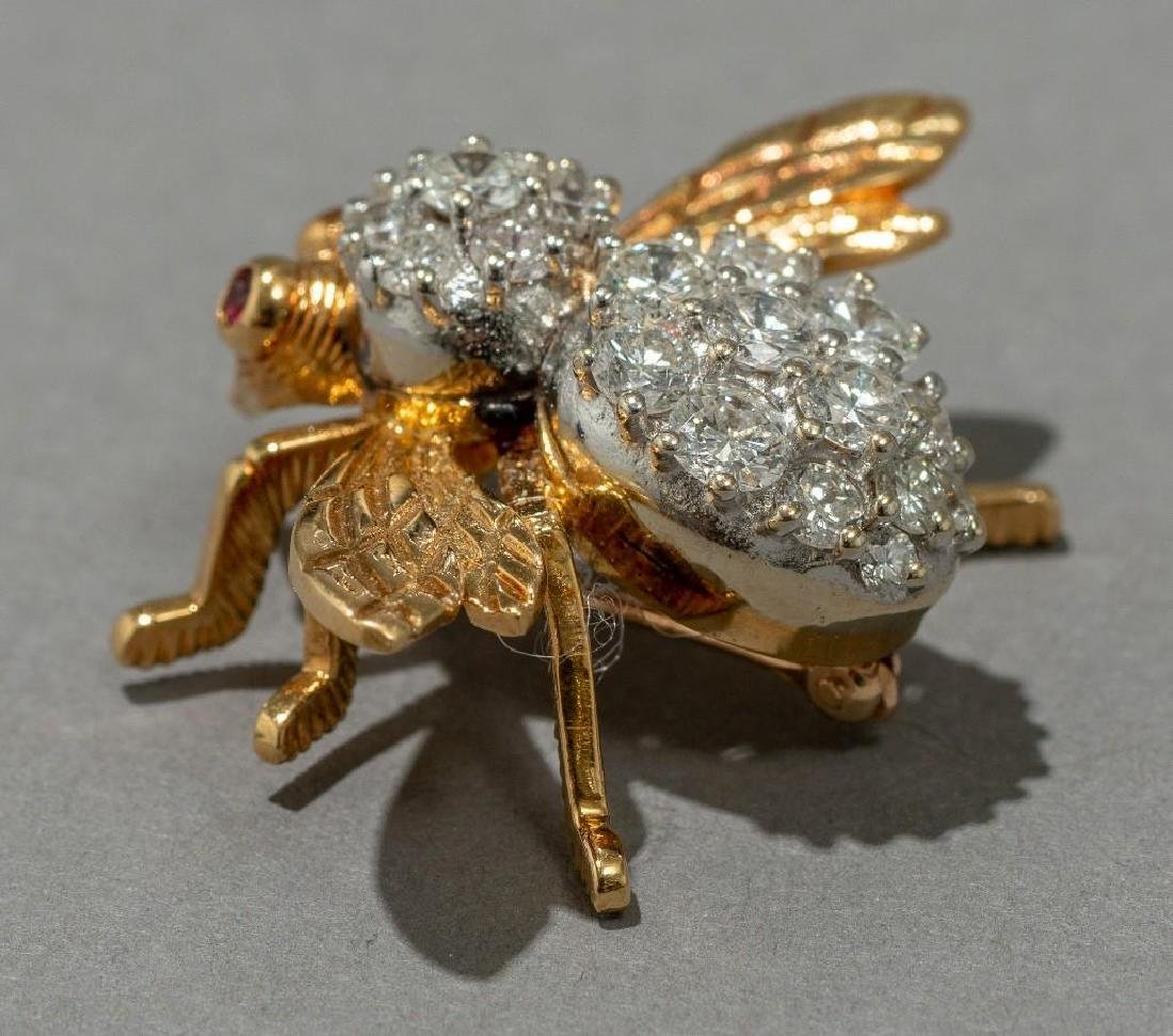 Rosenthal Gold, Diamond, and Ruby Bee Pin - 4