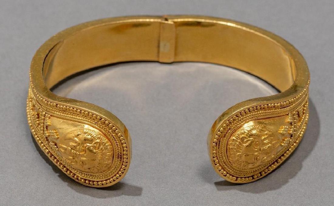 18k Gold Greek Byzantine Style Cuff Bracelet