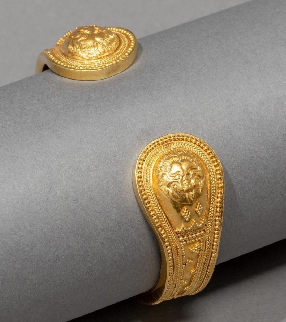 18k Gold Greek Byzantine Style Cuff Bracelet - 5