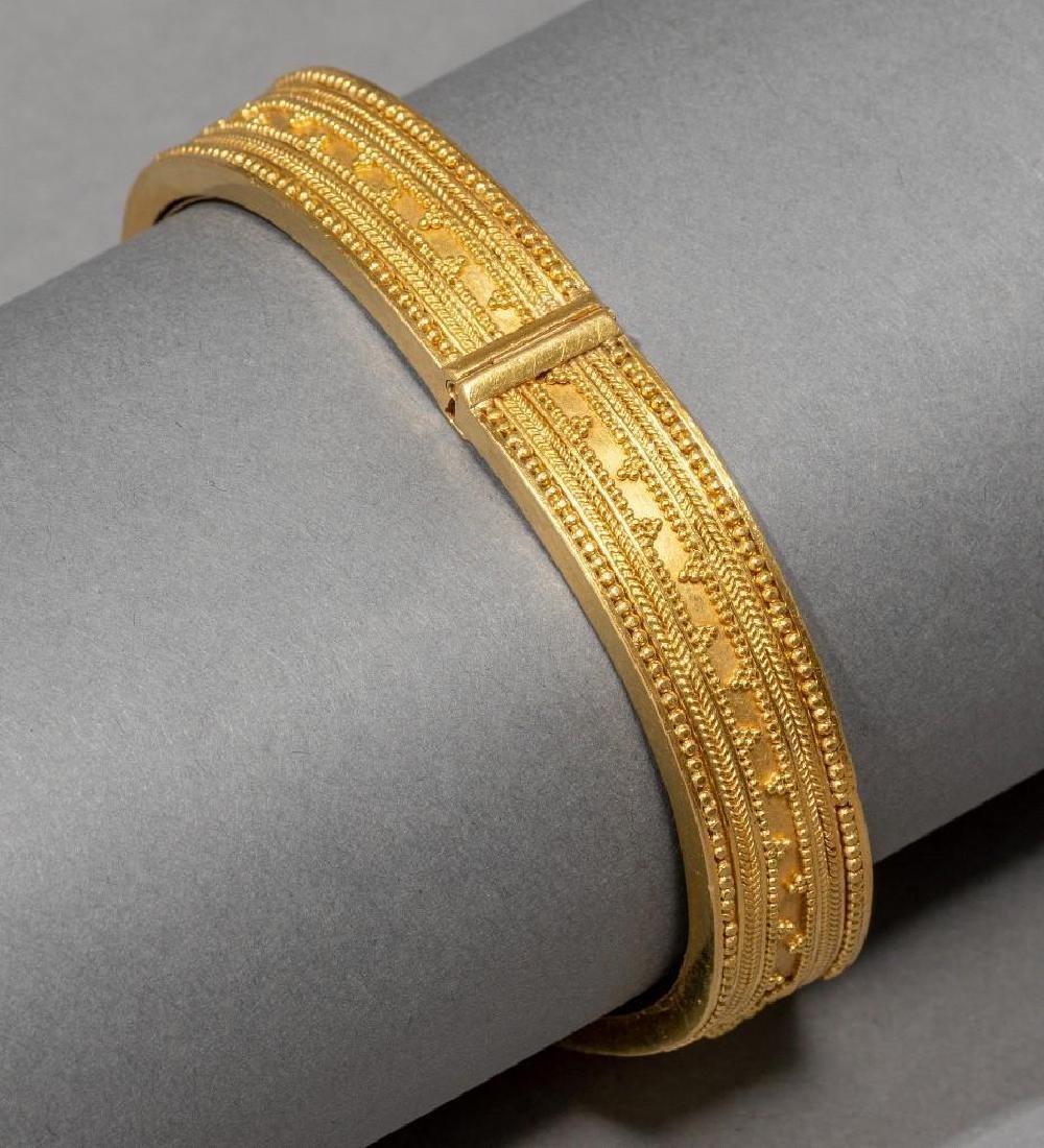 18k Gold Greek Byzantine Style Cuff Bracelet - 6