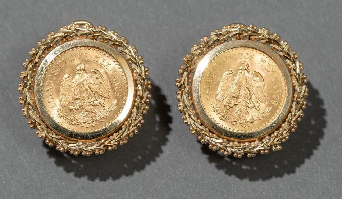 Mexican Dos y Medio Pesos Gold Coin Earrings