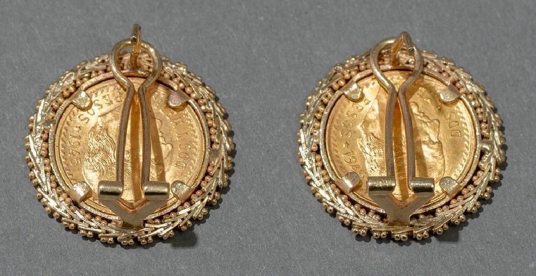 Mexican Dos y Medio Pesos Gold Coin Earrings - 2