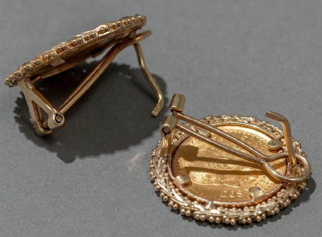 Mexican Dos y Medio Pesos Gold Coin Earrings - 3
