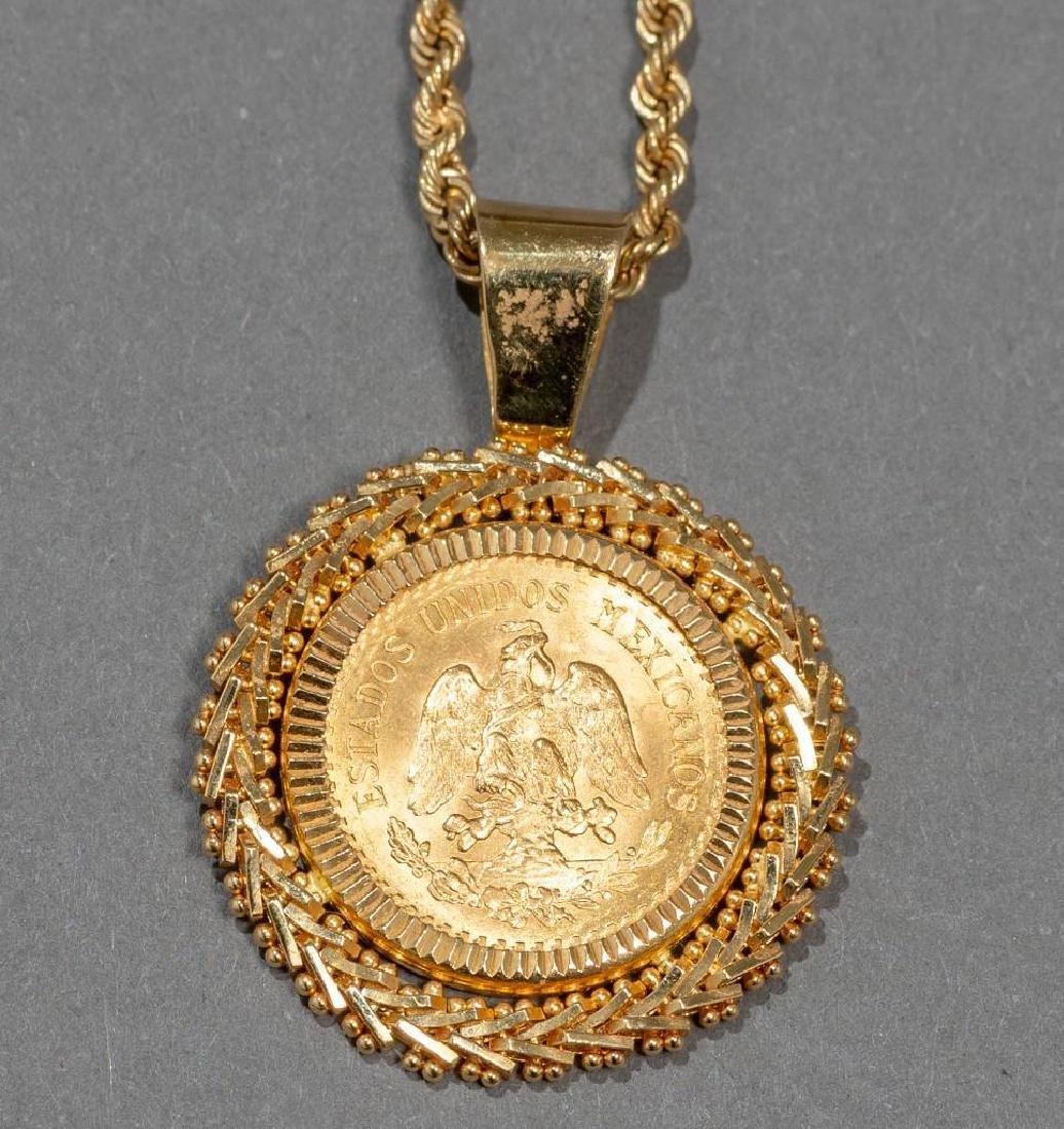 Mexican, Dos Y Medio Pesos Gold Coin Pendant
