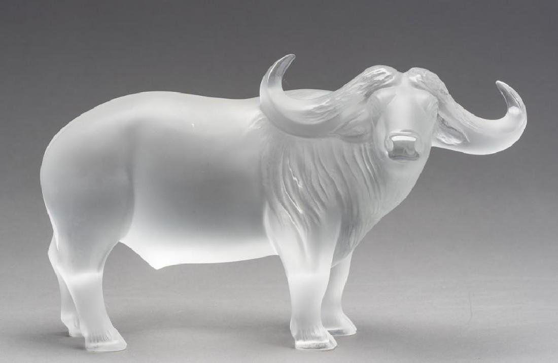 "Lalique, France ""Nam"" Water Buffalo, Signed Crystal"