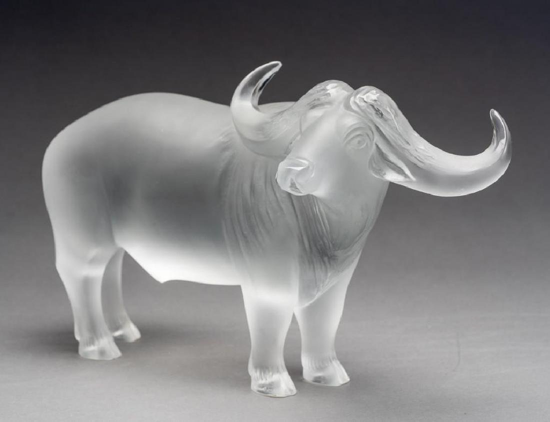 "Lalique, France ""Nam"" Water Buffalo, Signed Crystal - 3"