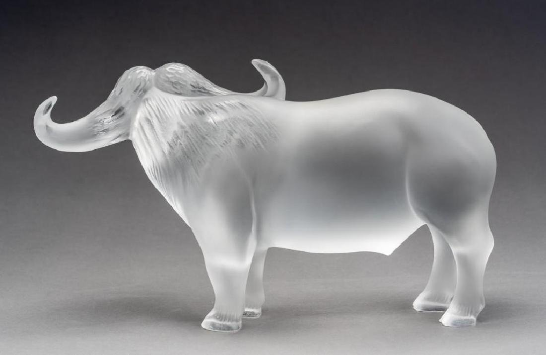 "Lalique, France ""Nam"" Water Buffalo, Signed Crystal - 5"