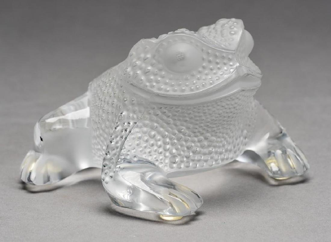"""Lalique, France """"Gregoire"""", Signed Crystal Frog - 7"""